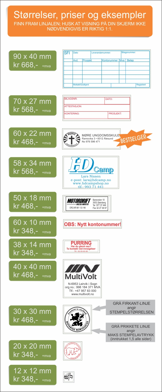 Størrelser, priser og eksempler på Brother-stempler fra Tonjer Media as -www.stempelnorge.no